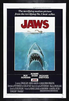 JAWS * CineMasterpieces ORIGINAL MOVIE POSTER 1975 UNUSED SHARK NM C9
