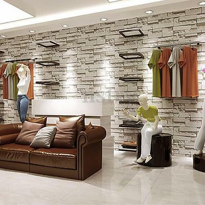 10M 3D Brick Stone Rock Wallpaper Wall Paper Home Living Room Vinyl Decal Decor