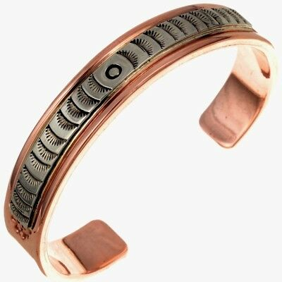 Navajo Handmade HEAVY Hammered Copper Sterling Silver Men's Cuff Bracelet SALE