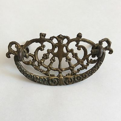 Victorian Antique Ornate Single Drawer Pull Handle Restoration Piece 4-1/4""