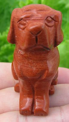 Handmade Carved Red Jasper Dog Statue,gem(1005)