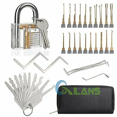 24pcs Unlocking Lock Pick Set +10 pcs Key Extractor Tool Lock + Practice Padlock