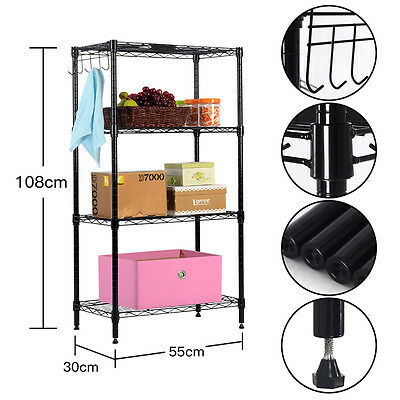 "43""x12""x22"" 4 Tier Layer Shelf Adjustable Steel Wire Metal Shelving Rack"