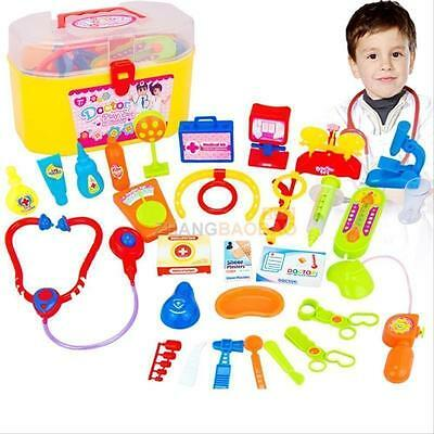 30 Kid Doctor Toy Pretend Role Play Kit Medical Nurse Case Stethoscope Xmas Gift