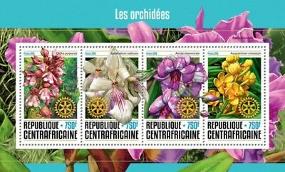 Central Africa - 2016 Rotary & Orchids - 4 Stamp Sheet - CA16612a