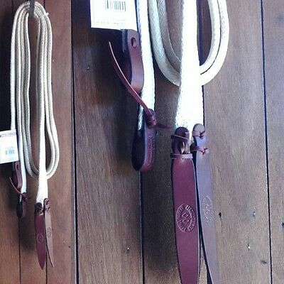 7ft Split Reins by Double Diamond (USA) - 1 inch wide, flat waxed nylon rope