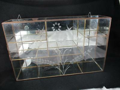 Vintage Brass Glass Etched Table/Wall Hanging Curio Cabinet Display Shelf Case