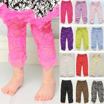 New Floral Ruffle Pants Baby Girls Toddler Kids Lace Summer Thin Trouser Legging
