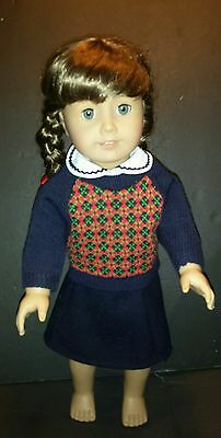 American Girl MOLLY DOLL Blue SWEATER SKIRT & white Collar BF of EMILY free SHIP