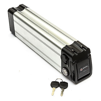 Lithium Ion Battery 36v 10ah Electric Bicycle Bike Cycle Lockable Silver Fish