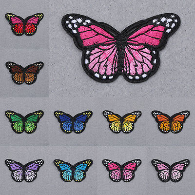 Butterflies Embroidered Motif Applique Iron On Sew Cloth Patch DIY Accessories