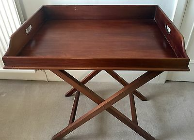 ANTIQUE GEORGIAN BUTLERS TABLE TRAY + STAND MAHOGANY ORIGINAL 19thC VGC