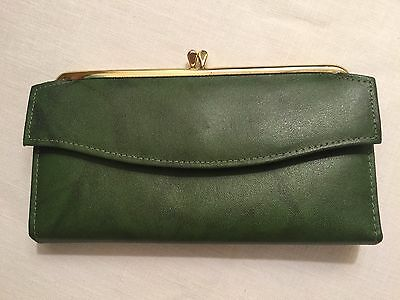 Vintage Retro Amity Ladies Wallet Green Cowhide Snap Coin Purse - Unused
