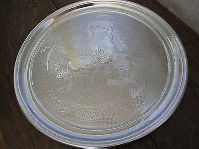 Vintage Tea Tray Willow Pattern Round Stainless Steel Serving Tray