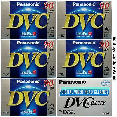 5 X MINI DV TAPES + HEAD CLEANER Sony JVC Canon Samsung