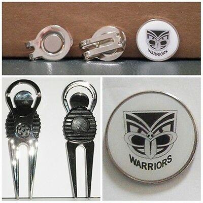 2 only NEW ZEALAND WARRIORS GOLF BALL MARKERS + A NICE  DIVOT TOOL &  HAT CLIP