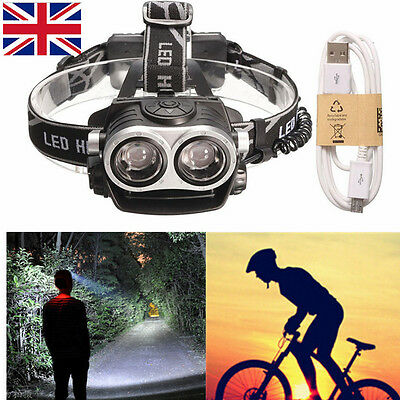 10000Lm 2x T6 LED USB Rechargeable Focus Headlamp Headlight Head Torch Zoomable