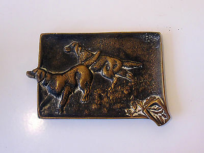 Antique Brass Tray - Decorated With A Pair Of Hunting Dogs - Great Patina C 1900