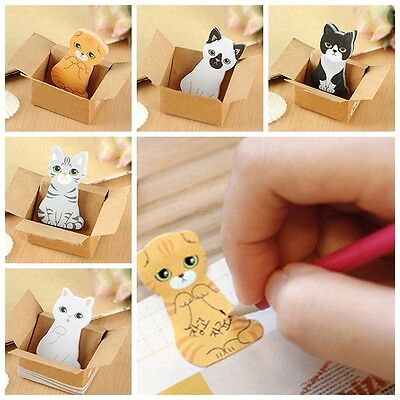 5PCs Stationery Cute Cartoon Animal Cat Stickers Boys Girls Students Necessary