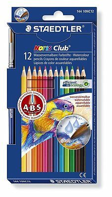 Staedtler Noris Club Aquarell Watercolour Pencils 12 Colour Pack + Paint Brush
