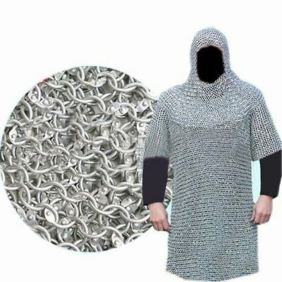 XXXL ALUMINIUM ROUND RIVETED CHAIN MAIL SHIRT 9mm 16G MEDIEVAL CHAINMAIL+ COIF