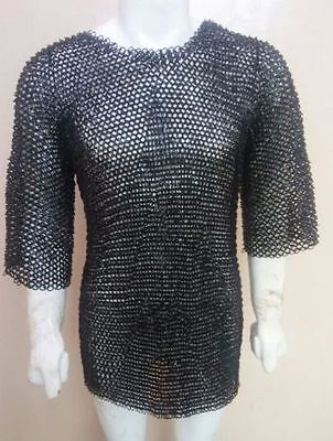 Medieval chainmail Haubergeon  MEDIUM Shirt 10 mm Flat Riveted with Washer