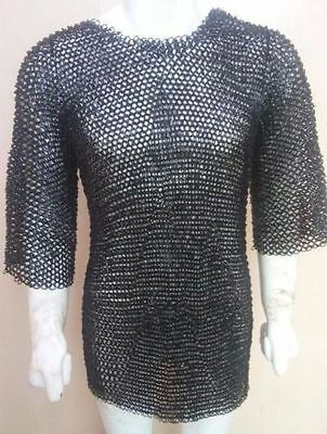 Medieval chainmail Haubergeon X-LARGE Shirt 10 mm Flat Riveted with Washer