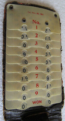 240) Extra Rare Celluloid Liberty Golf Score Counter With Embossed Leather Cover