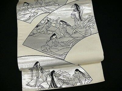 REDUCED Vintage Japanese Cream Silk Fukuro-Obi 'Silver/Black Fans & Princesses'