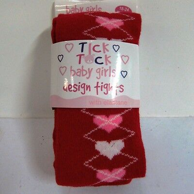 Baby Girls Tick Tock Cotton Rich Knit Tights Red With Hearts  - 45B057