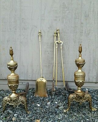 Vintage Antique scrolled Brass Fireplace Andirons matching tool set STANTON 56