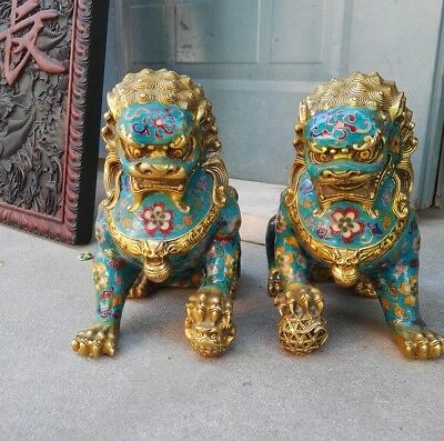 Chinese Bronze Copper Cloisonne Foo Fu Dog Guardion Door Lion Ball Statue Pair