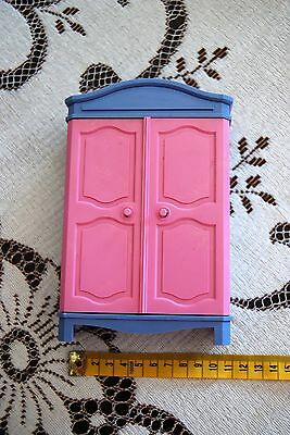 lovely pink and purple vintage 90s doll plastic closet wardrobe opening doors