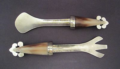 Vintage Mexican Hand Made Silver & Horn Serving Pieces