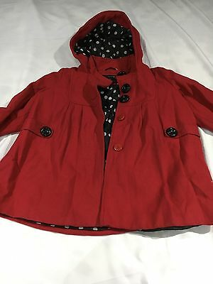 Next Girls Winter Coat Age3-4 Year Red Hooded Used