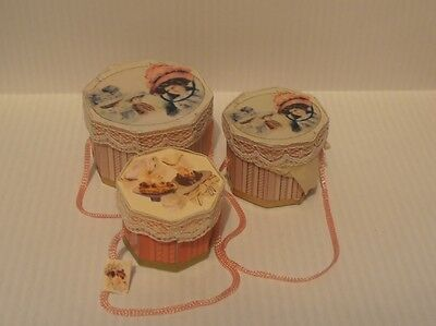 dolls house miniature 3 - hat boxes boxes - handmade
