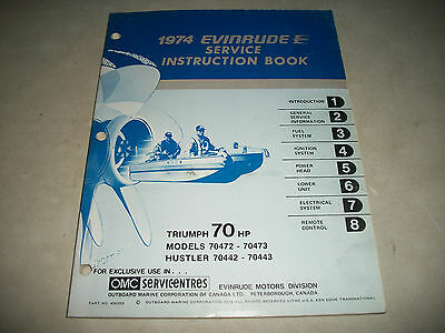 "Official 1974 Evinrude  "" Triumph "" 70 Hp. Outboard Service Shop Manual Clean"