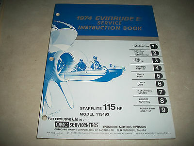 "Official 1974 Evinrude  "" Starflite "" 115 Hp. Outboard Service Shop Manual Clean"
