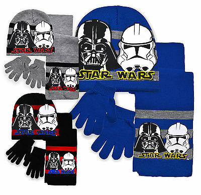 Boys Star Wars Hat Scarf & Gloves New Kids Vader Stormtrooper Set Age 3-12 Years