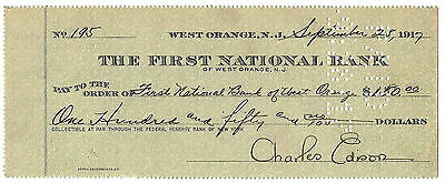 Charles Edison Son of Thomas Signed Check West Orange, NJ Date 1917 Pd to Bank