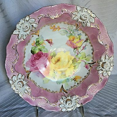 Antique Germany Porcelain Yellow Pink Roses Molded Flowers Large Serving Bowl