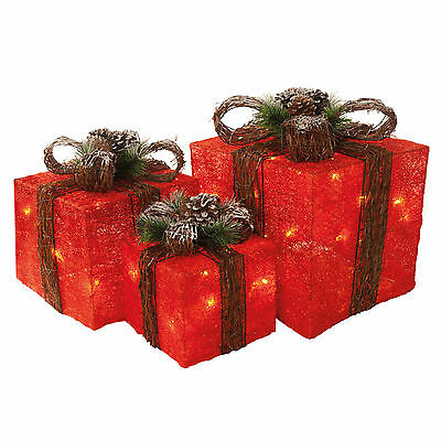 Set Of 3 Red Christmas Xmas Presents Gifts Parcels LED Light Up Decoration