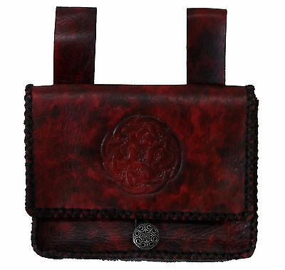 Deep Red Celtic Tobacco Belt Pouch Coin Purse Hand Made Tooled Leather LARP