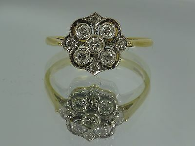 Vintage 18ct Gold 0.5ct Art Deco Style DIAMOND CLUSTER Old Rose Cut RING