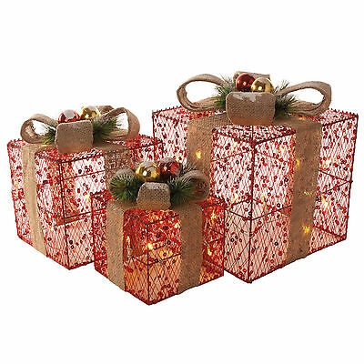 Set Of 3 Red Sequin Christmas Xmas Presents Gift Parcels LED Light Up Decoration
