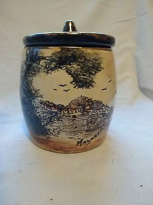 OLD FRENCH CERAMIC BROWN AND GOLD TOBACCO JAR?  105 x 105 mm's approx Mazamet
