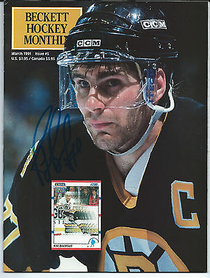 Ray Bourque signed Beckett Magazine March 1991 Boston Bruins autograph