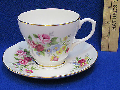 Tea Cup & Saucer Duchess Bone China England Pink Rose Colorful Flower Floral 329