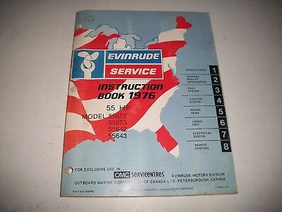 Official 1976 Evinrude 55 Hp. Outboard Service Instruction Shop Manual Clean