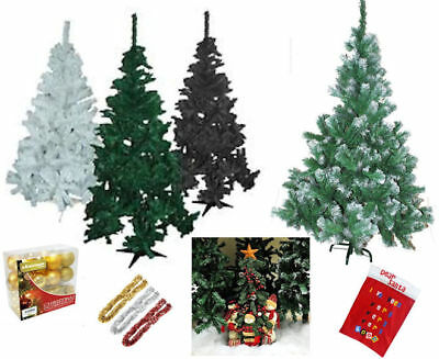 New Artificial Christmas Trees 4ft 5ft 6ft Green Black White & Xmas Decorations
